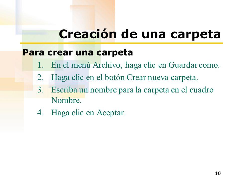 Creación de una carpeta