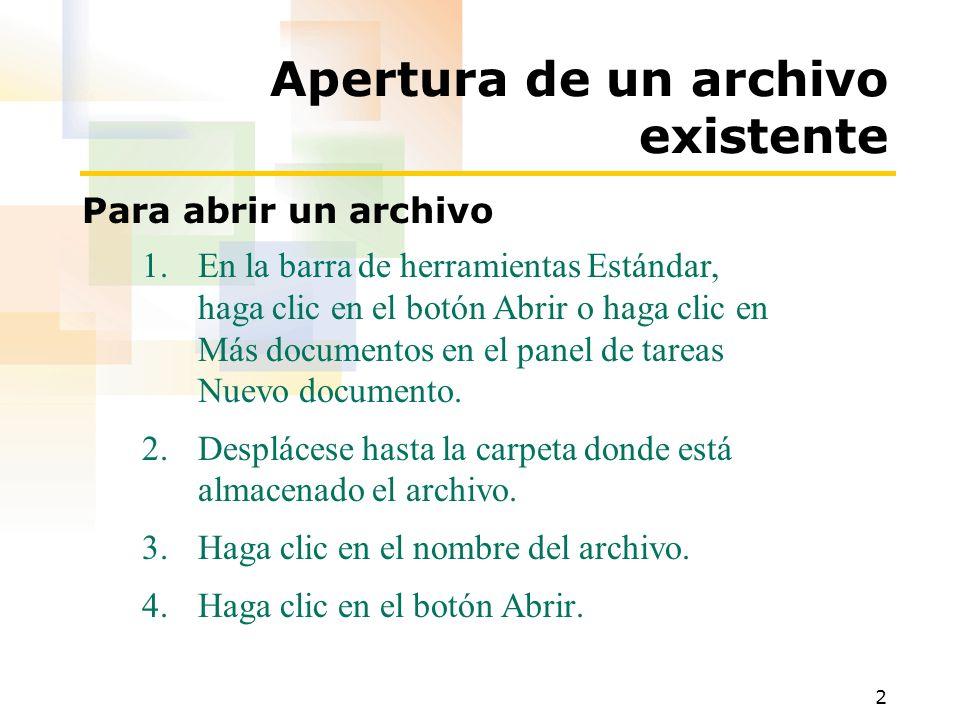 Apertura de un archivo existente