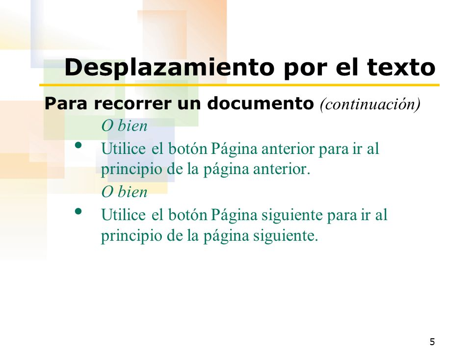 Desplazamiento por el texto