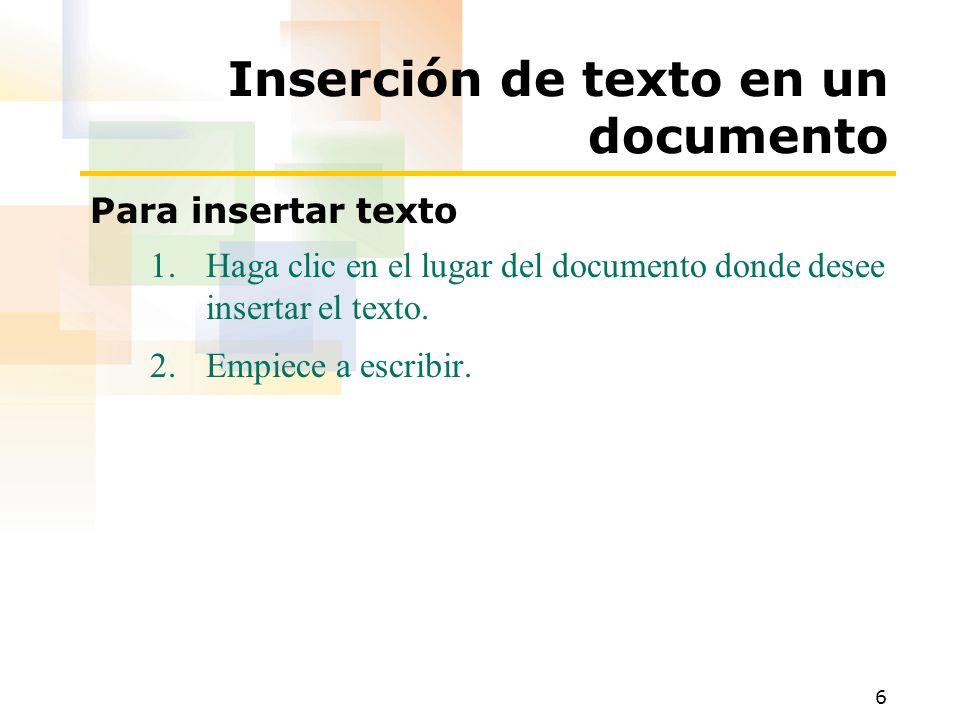 Inserción de texto en un documento