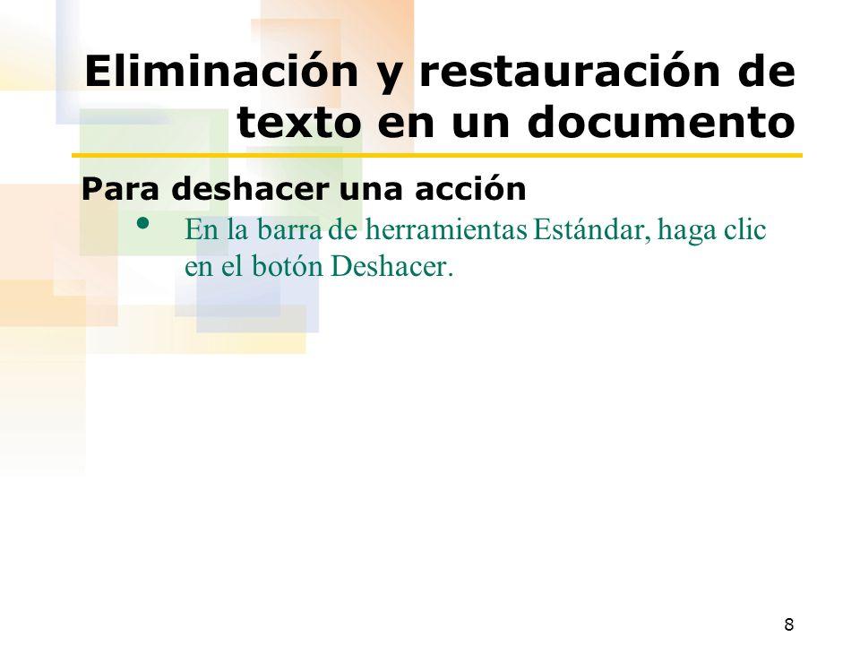 Eliminación y restauración de texto en un documento