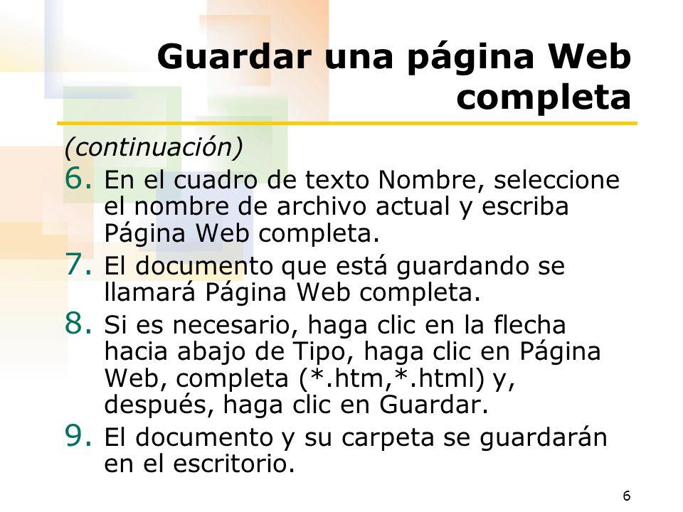 Guardar una página Web completa
