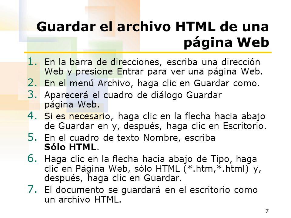 Guardar el archivo HTML de una página Web