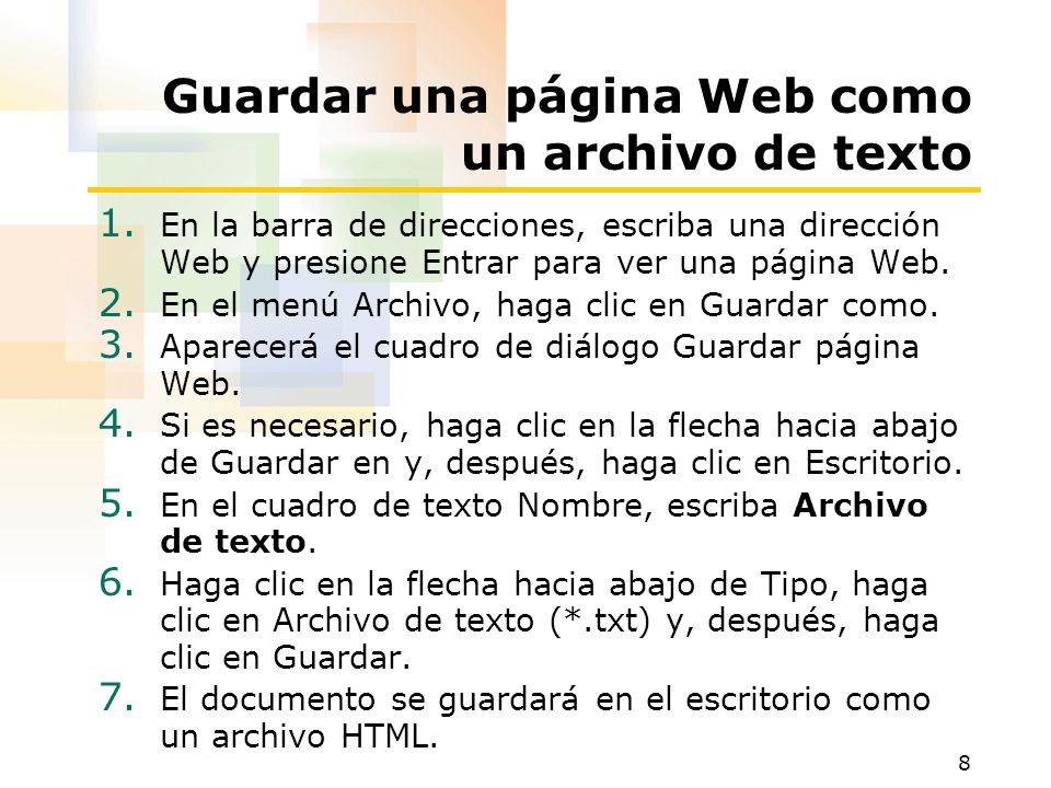 Guardar una página Web como un archivo de texto