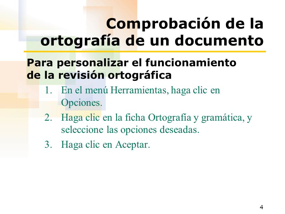Comprobación de la ortografía de un documento