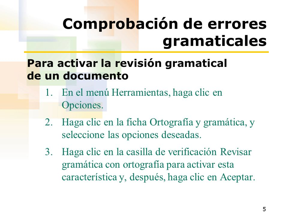 Comprobación de errores gramaticales