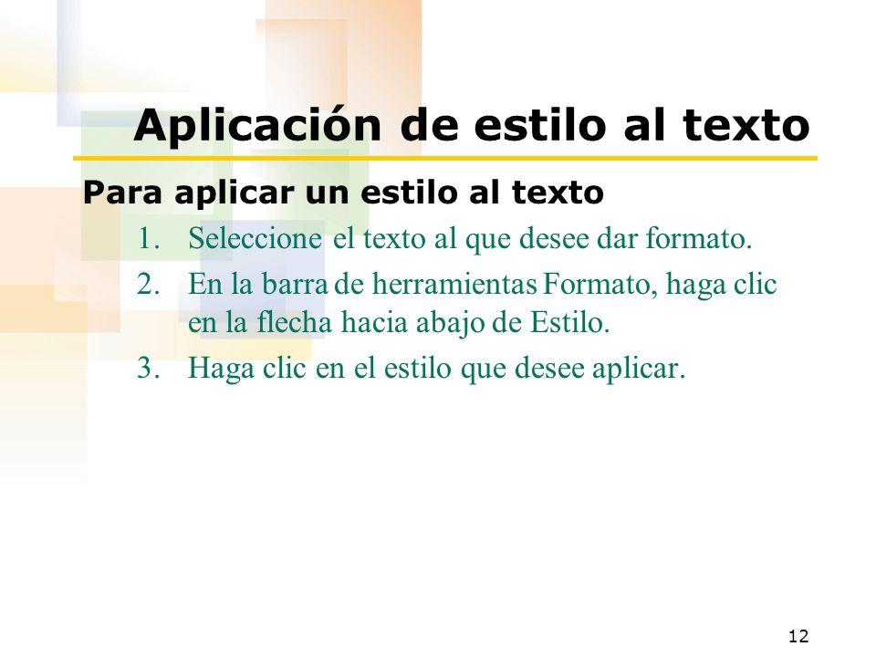 Aplicación de estilo al texto
