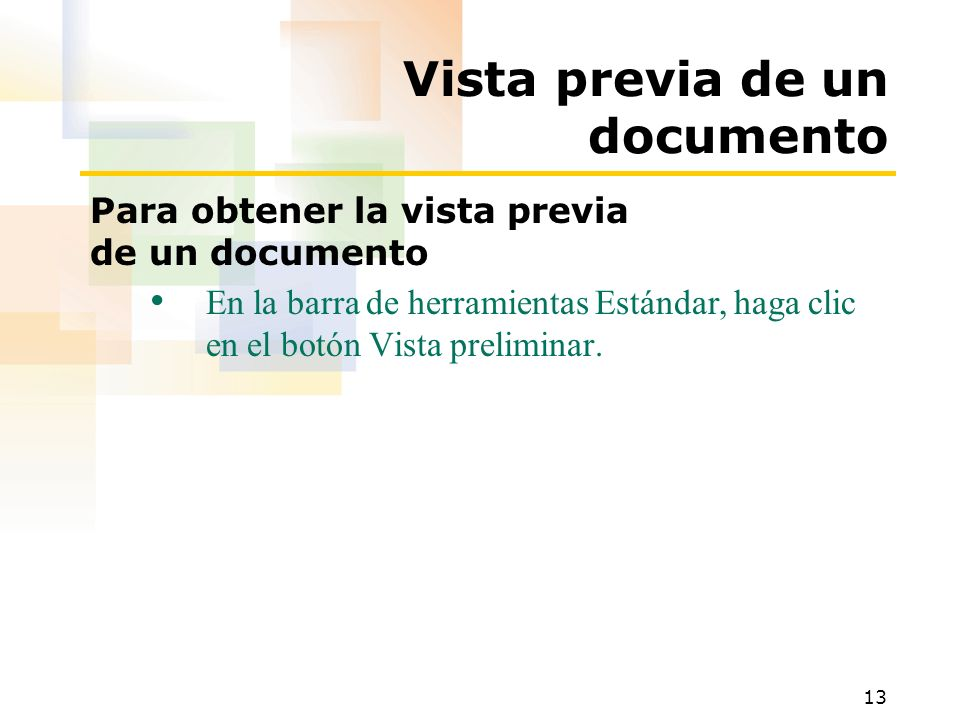 Vista previa de un documento