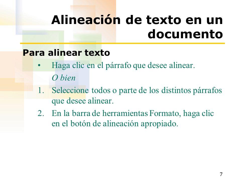Alineación de texto en un documento