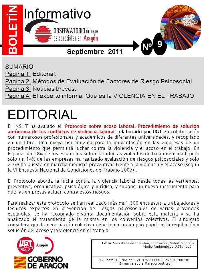 Informativo EDITORIAL BOLETÍN 9 Nº Septiembre 2011 SUMARIO: