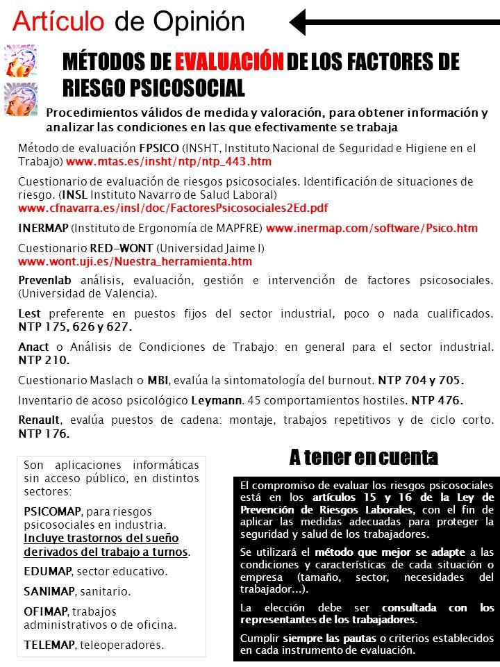 Artículo de Opinión MÉTODOS DE EVALUACIÓN DE LOS FACTORES DE RIESGO PSICOSOCIAL.