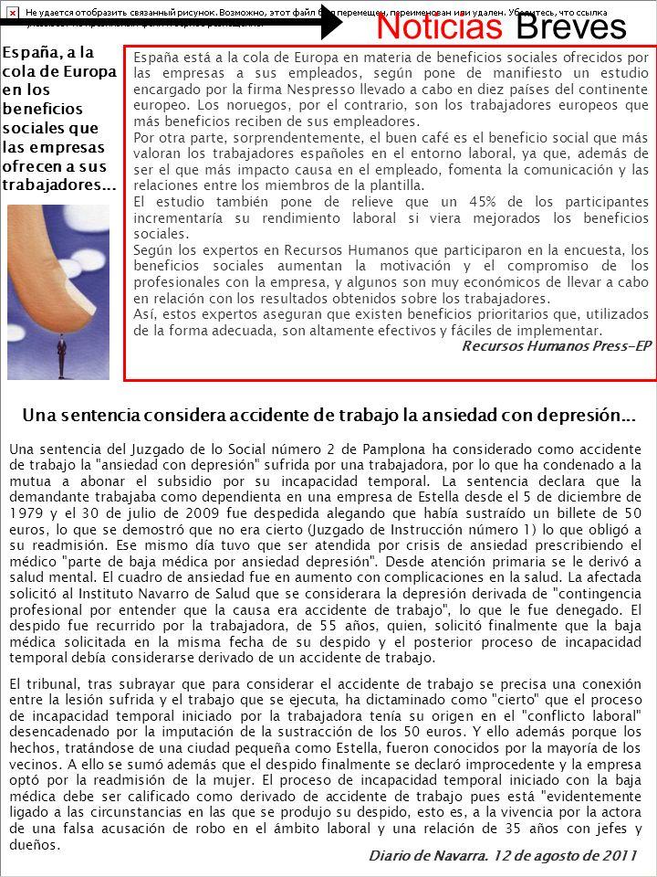 Noticias Breves España, a la cola de Europa en los beneficios sociales que las empresas ofrecen a sus trabajadores...