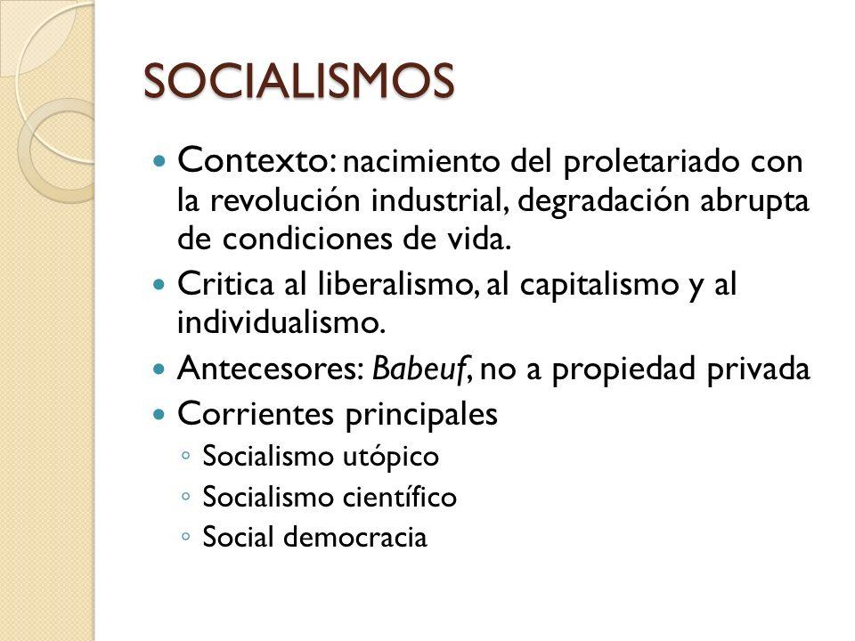 SOCIALISMOS Contexto: nacimiento del proletariado con la revolución industrial, degradación abrupta de condiciones de vida.