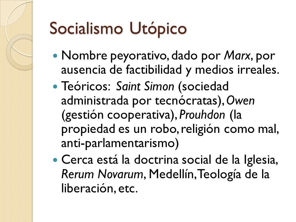 Socialismo UtópicoNombre peyorativo, dado por Marx, por ausencia de factibilidad y medios irreales.