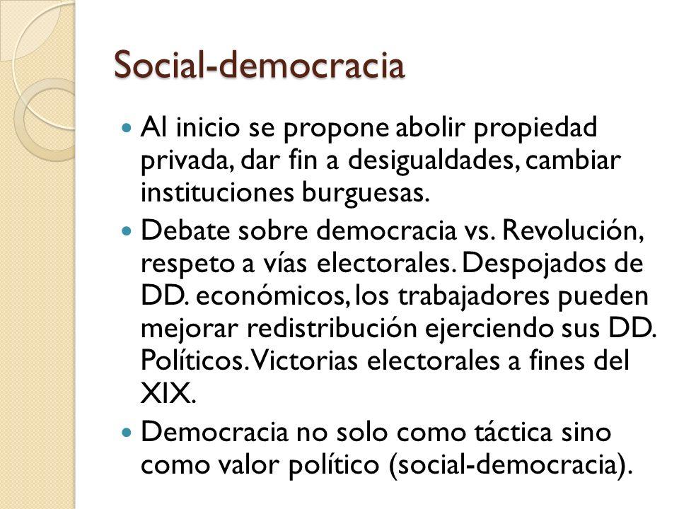 Social-democracia Al inicio se propone abolir propiedad privada, dar fin a desigualdades, cambiar instituciones burguesas.