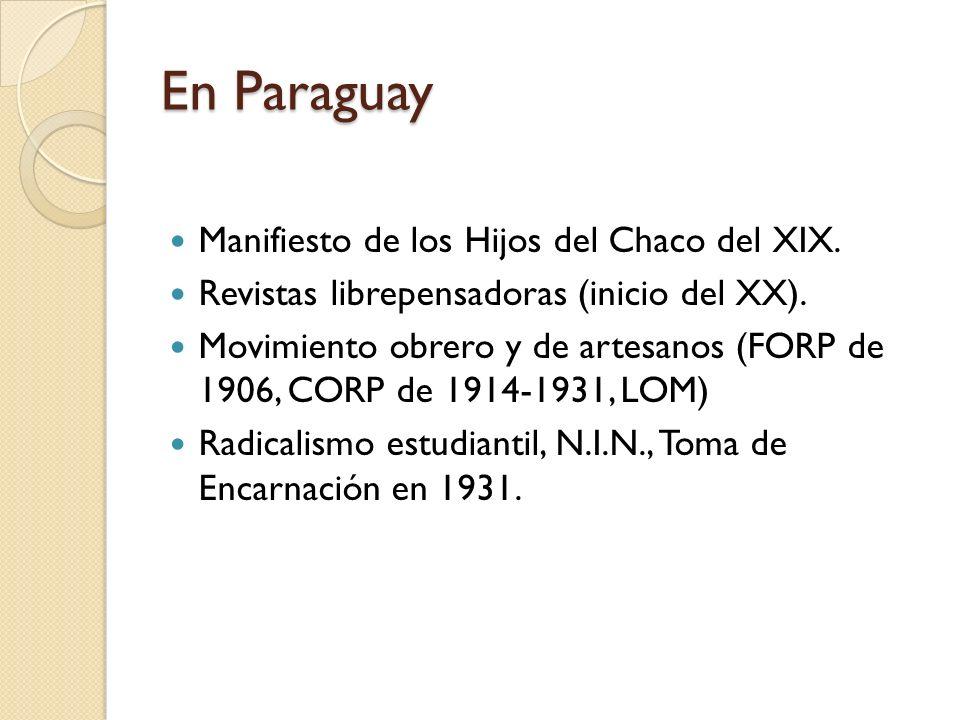 En Paraguay Manifiesto de los Hijos del Chaco del XIX.
