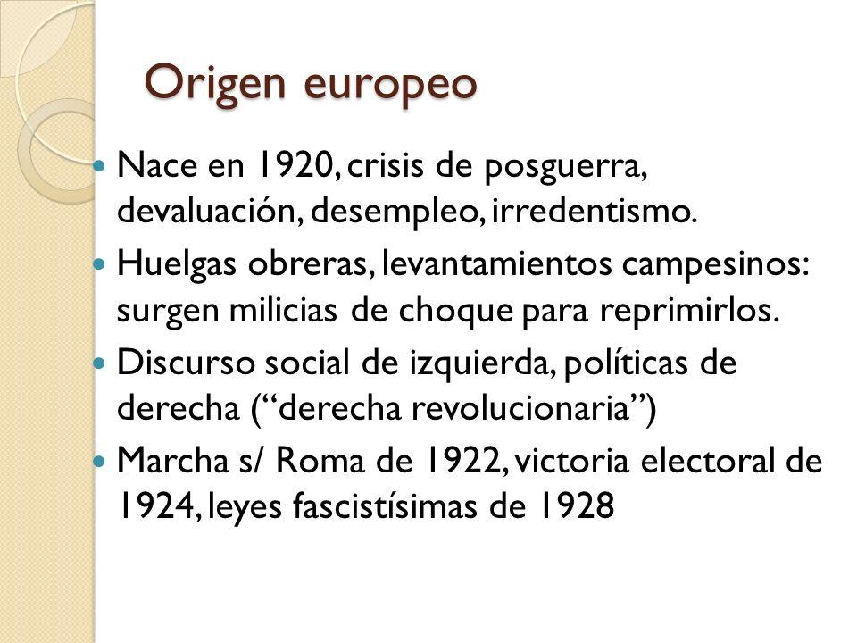 Origen europeo Nace en 1920, crisis de posguerra, devaluación, desempleo, irredentismo.
