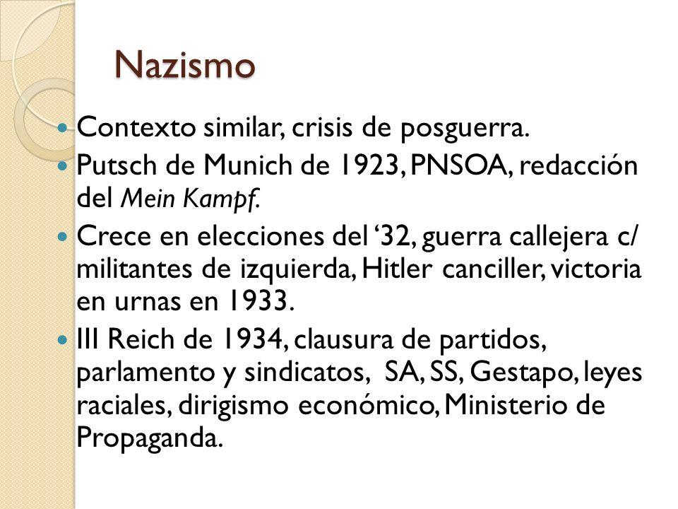 Nazismo Contexto similar, crisis de posguerra.