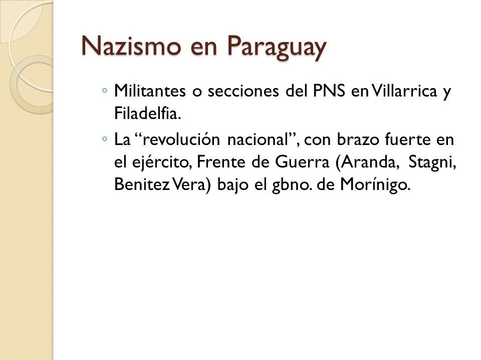 Nazismo en ParaguayMilitantes o secciones del PNS en Villarrica y Filadelfia.