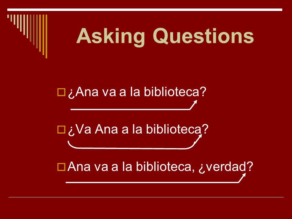 Asking Questions ¿Ana va a la biblioteca ¿Va Ana a la biblioteca