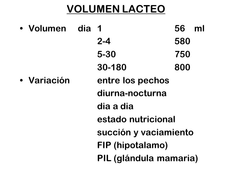 VOLUMEN LACTEO Volumen dia 1 56 ml 2-4 580 5-30 750 30-180 800