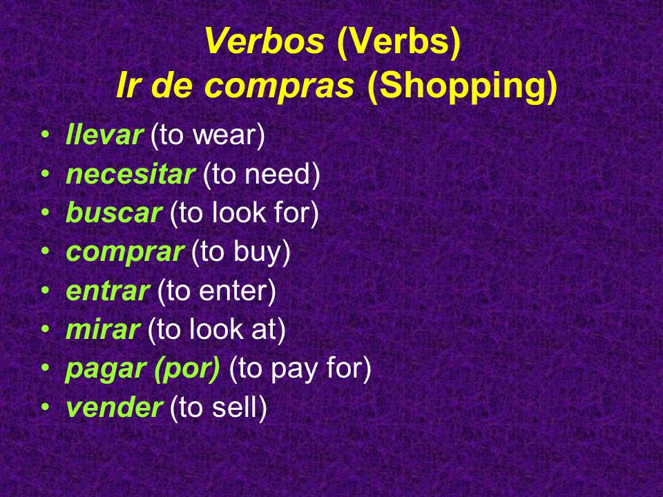 Verbos (Verbs) Ir de compras (Shopping)