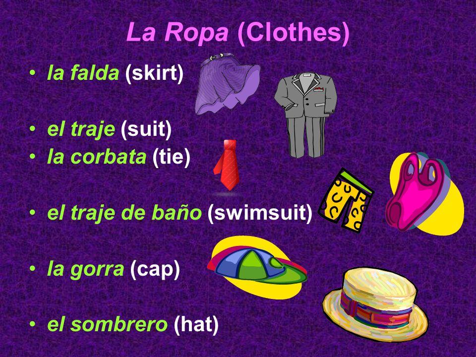 La Ropa (Clothes) la falda (skirt) el traje (suit) la corbata (tie)