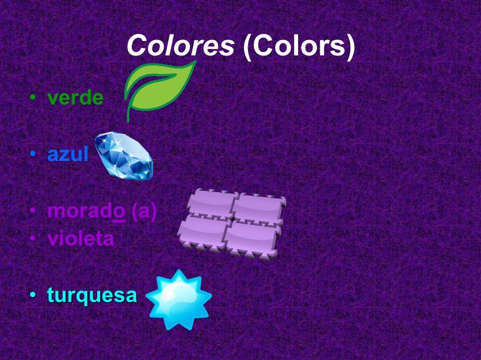 Colores (Colors) verde azul morado (a) violeta turquesa