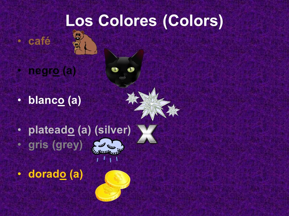 Los Colores (Colors) café negro (a) blanco (a) plateado (a) (silver)