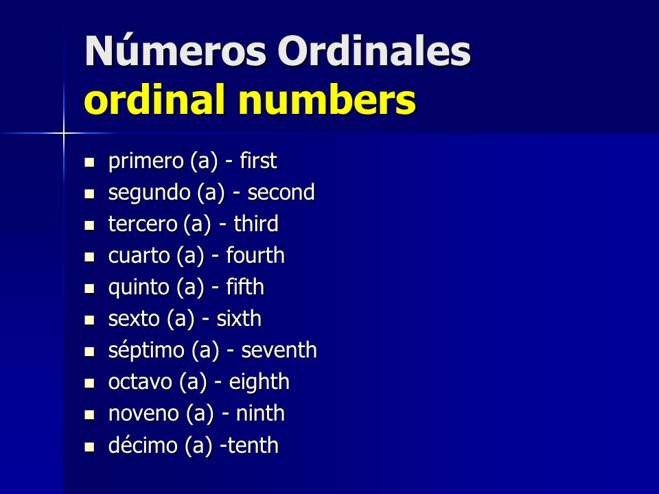 Números Ordinales ordinal numbers