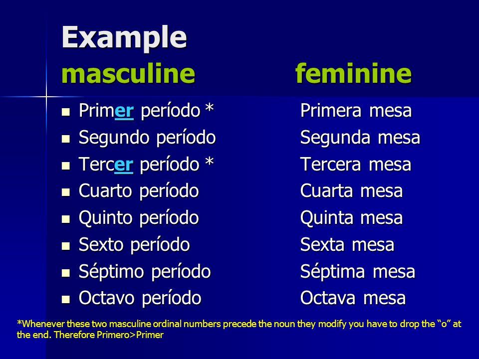 Example masculine feminine