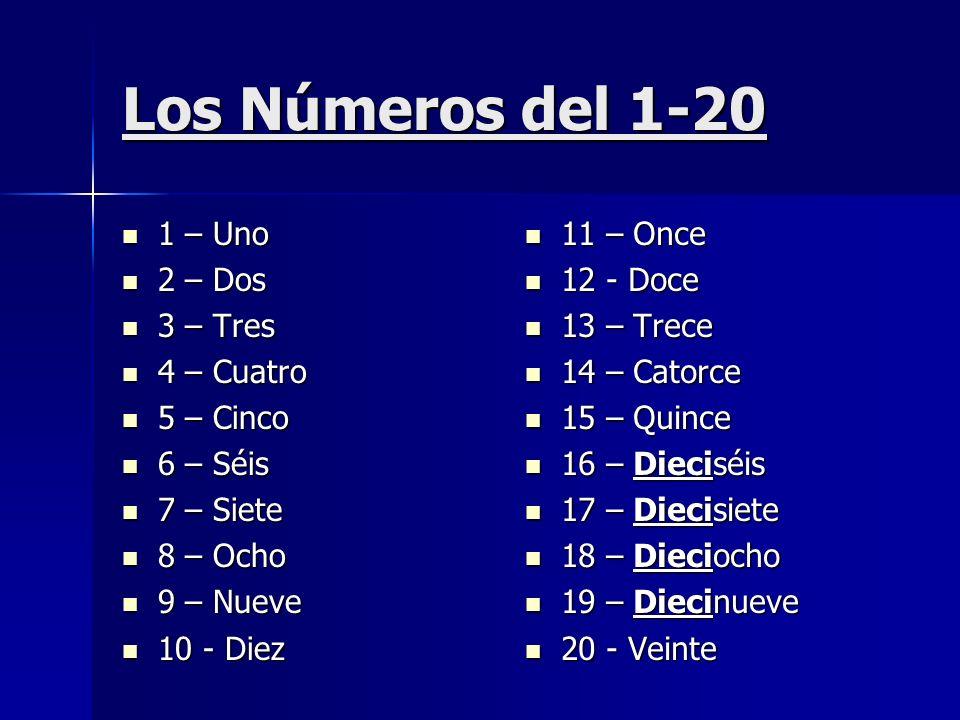 Los Números del 1-20 1 – Uno 2 – Dos 3 – Tres 4 – Cuatro 5 – Cinco