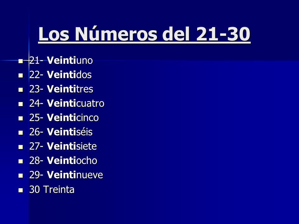 Los Números del 21-30 21- Veintiuno 22- Veintidos 23- Veintitres