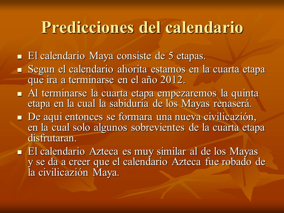 Predicciones del calendario