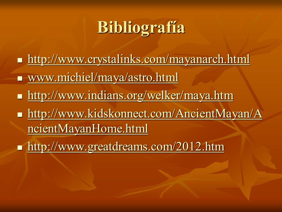 Bibliografía http://www.crystalinks.com/mayanarch.html