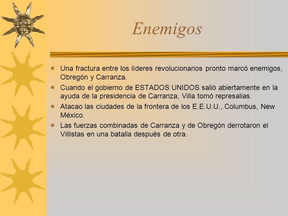 Enemigos Una fractura entre los líderes revolucionarios pronto marcó enemigos, Obregón y Carranza.
