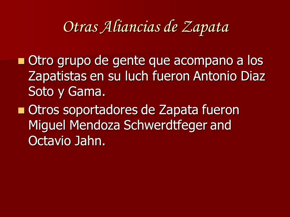 Otras Aliancias de Zapata