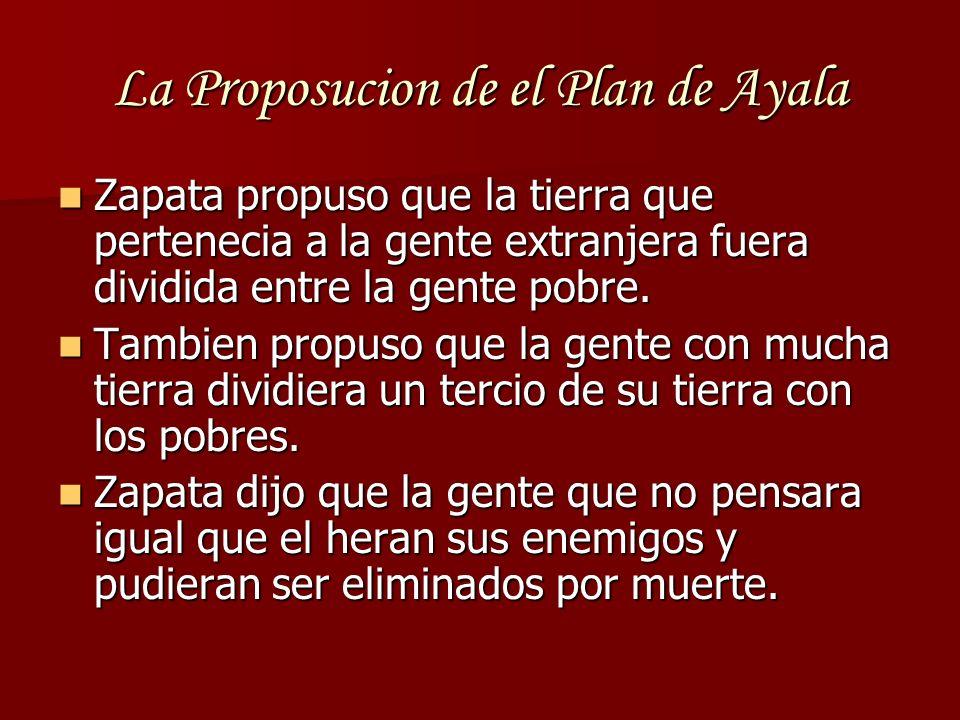La Proposucion de el Plan de Ayala