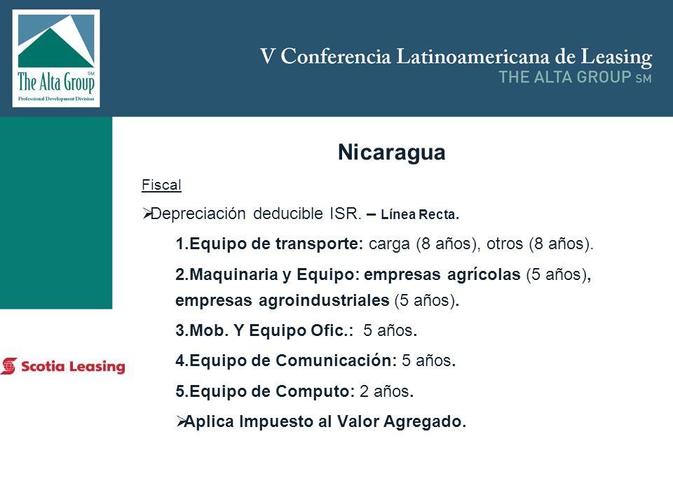 Nicaragua Depreciación deducible ISR. – Línea Recta.