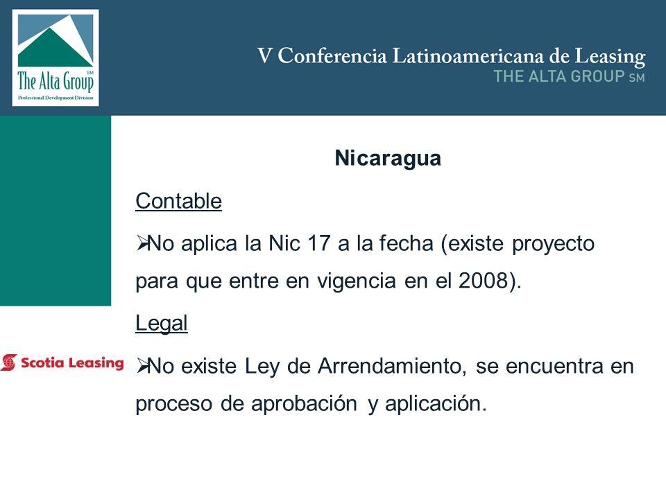 Nicaragua Contable. No aplica la Nic 17 a la fecha (existe proyecto para que entre en vigencia en el 2008).