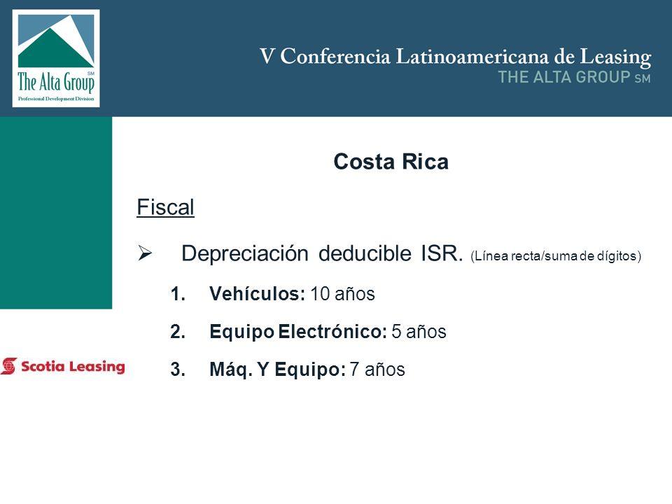Depreciación deducible ISR. (Línea recta/suma de dígitos)