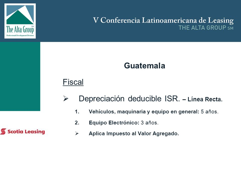 Depreciación deducible ISR. – Línea Recta.