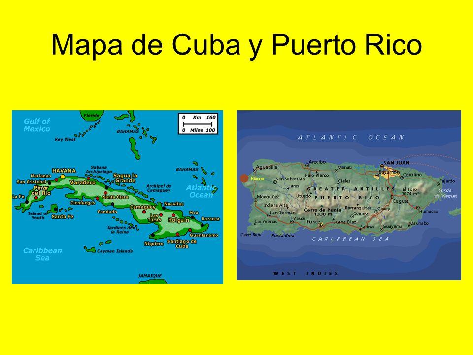 Mapa de Cuba y Puerto Rico