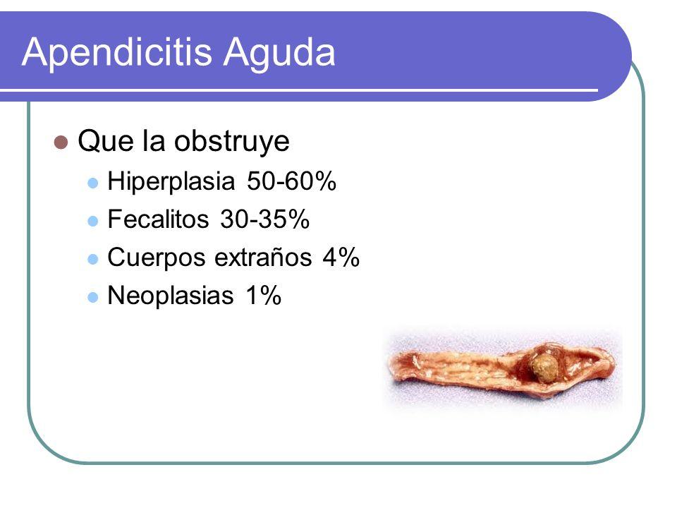 Apendicitis Aguda Que la obstruye Hiperplasia 50-60% Fecalitos 30-35%