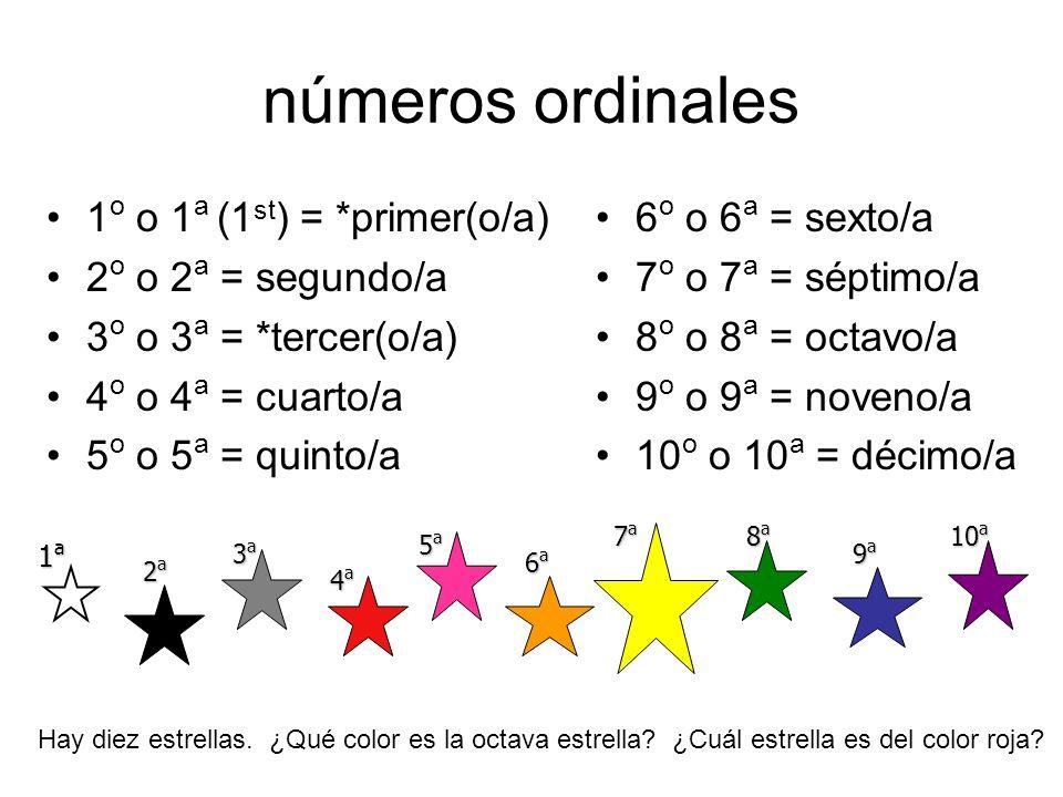 números ordinales 1o o 1a (1st) = *primer(o/a) 2o o 2a = segundo/a