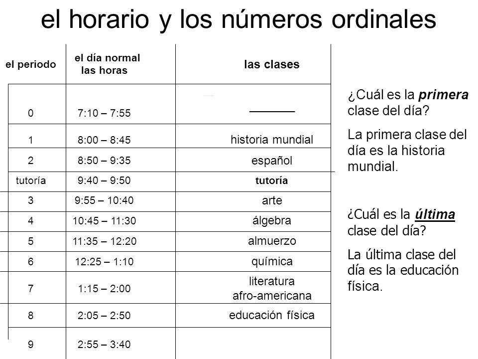 el horario y los números ordinales