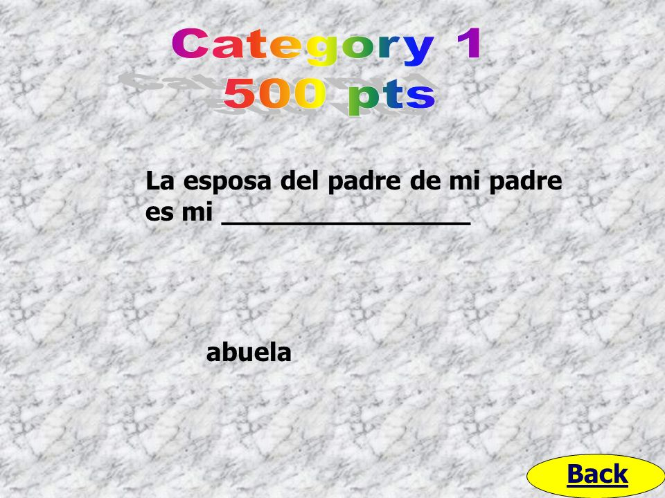 Category 1 500 pts La esposa del padre de mi padre es mi _______________ abuela Back