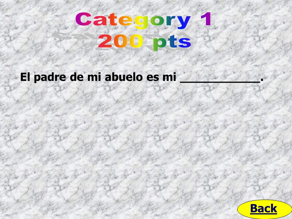 Category 1 200 pts El padre de mi abuelo es mi ___________. Back