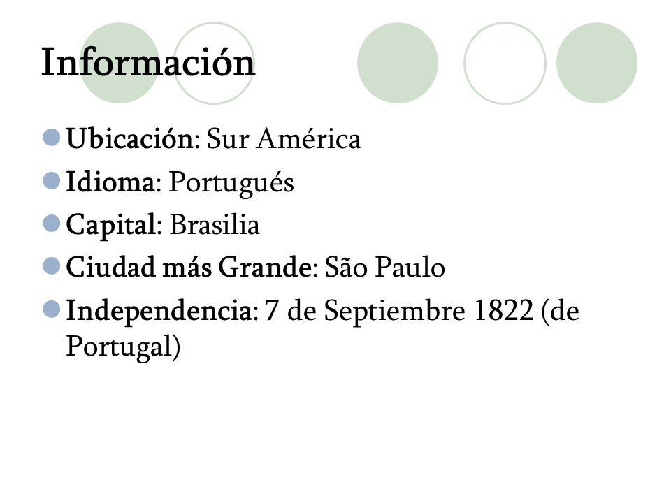Información Ubicación: Sur América Idioma: Portugués Capital: Brasilia