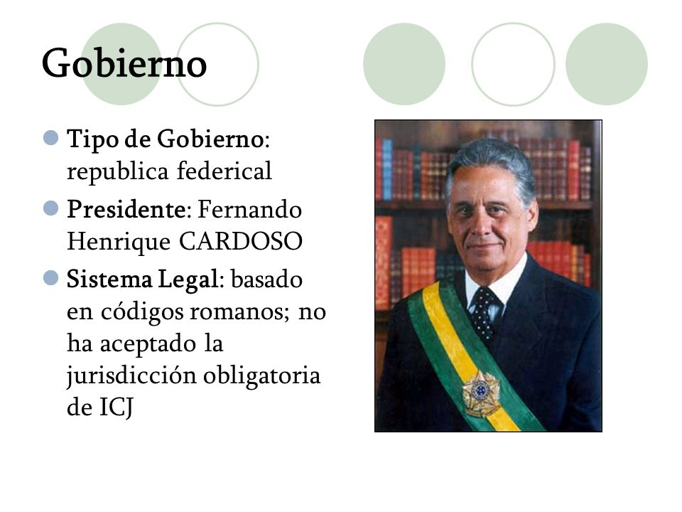 Gobierno Tipo de Gobierno: republica federical